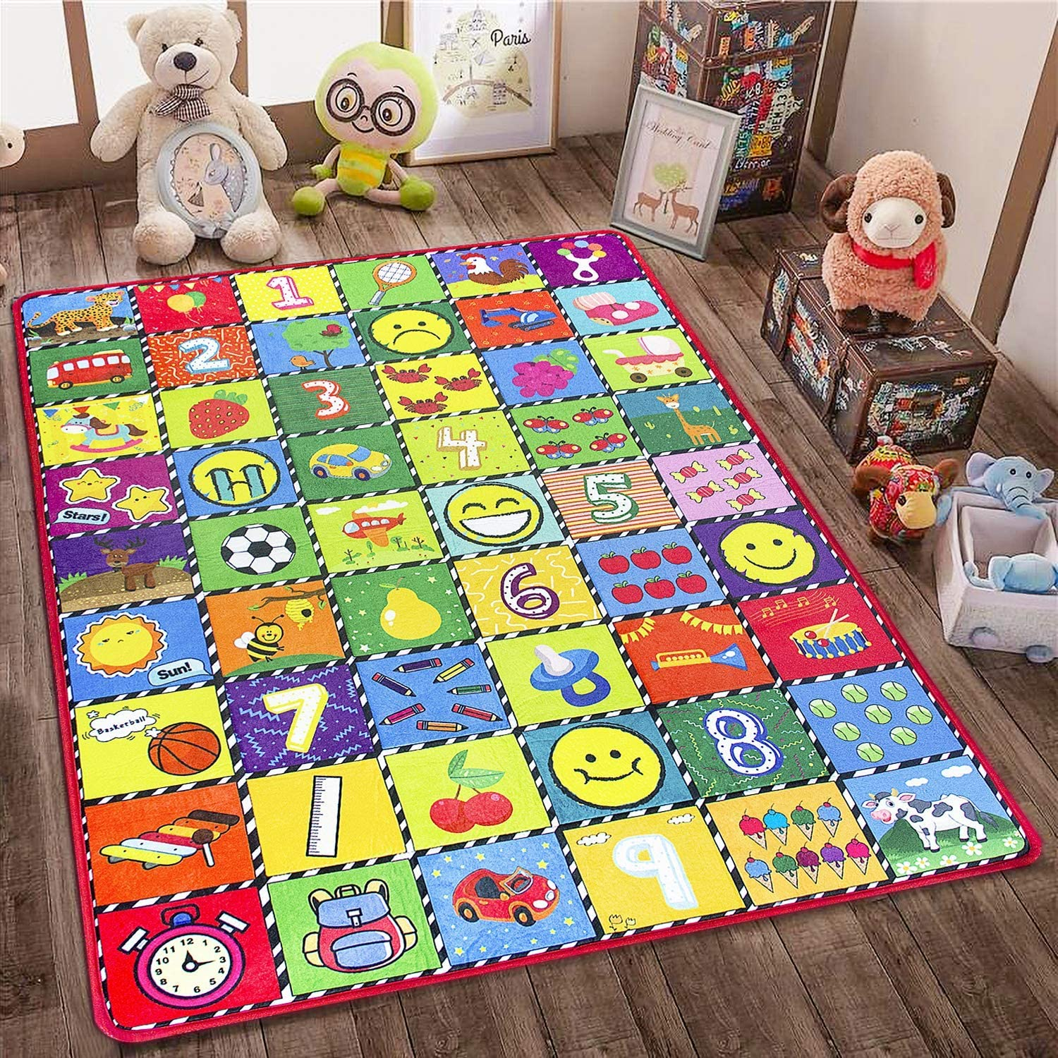 teytoy Baby Rug for Crawling - How Many Are There? Kids Area Rugs Educational Play Mat for Room Decor, Count Game, Learn Animals, Expressions, Family Beach Carpet Outdoor Indoor Gift 3.4 x 5