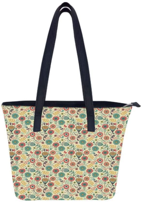 Floral Modern Flower Women Leather Laptop Tote Office Shoulder Handbag Computer Briefcase