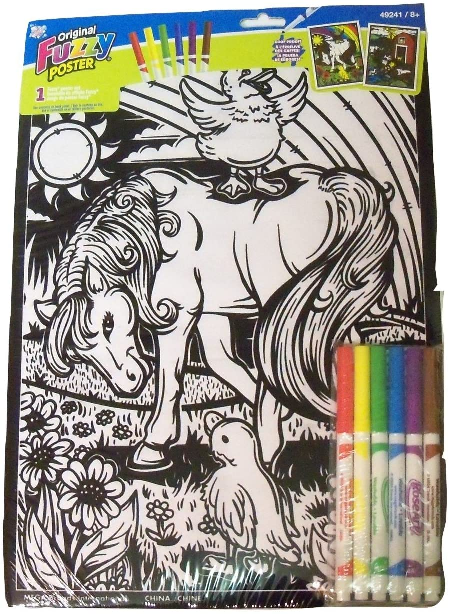 Roseart Original Fuzzy 2 Poster Set ~ Animals (Rainbow Beauty + Barnyard Fun; 11