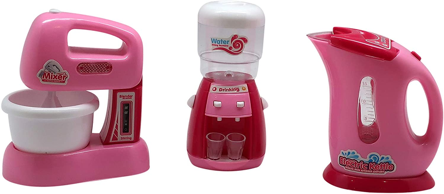 Forest & Twelfth Kids Mini Kitchen Appliances Play Set, Premium Quality Toy Set Perfectly Made for Little Hands – Mixer, Water Cooler and Electric Kettle (Set 1)