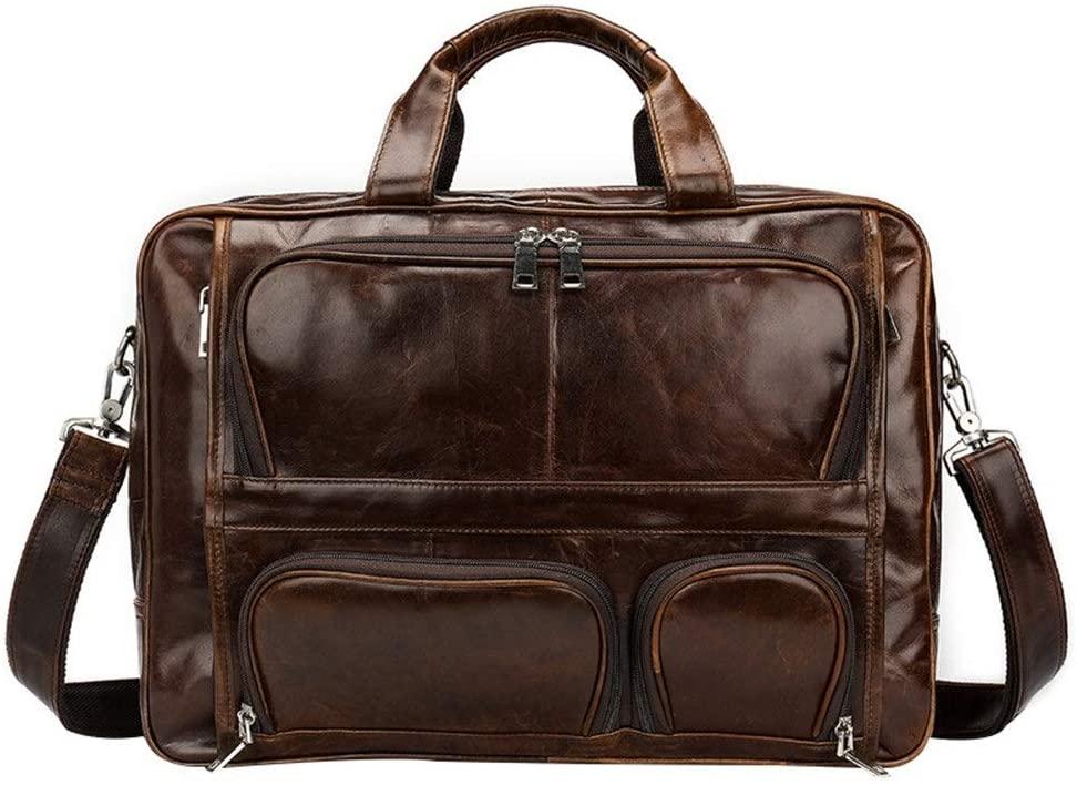 Sunmiao Durable Laptop Messenger Bag Briefcases Leather Men's Bag Oil Leather Retro Men's Handbag First Layer Leather Business Briefcase Shoulder Bag 15-inch Laptop Bag for Men