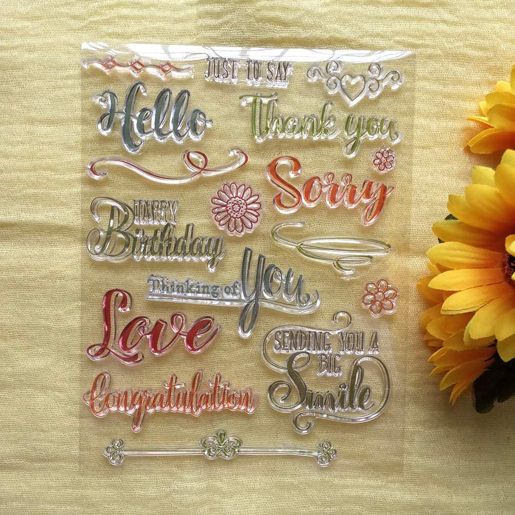 GAOZONGTER Words Happy Birthday Hello Thank You Love Clear Stamps for Card Making DIY Scrapbooking Silicone Stamps Transparent Stamps Album Photo Decor