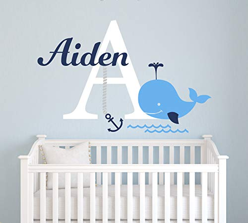 Personalized Whale Name Wall Decal - Nautical Theme Decal - Nursery Wall Decals - Nautical Decor - Baby Anchor Decor Art Vinyl Sticker (24
