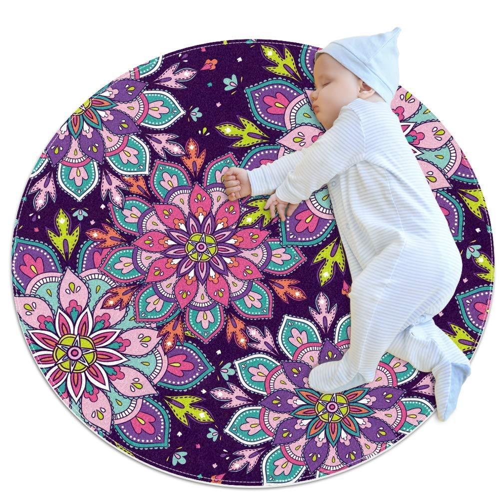 Nursery Area Rug Mandala Purple Play Mat Anti-Slip Baby Rug Soft for Baby Boys Girls 31.5x31.5in