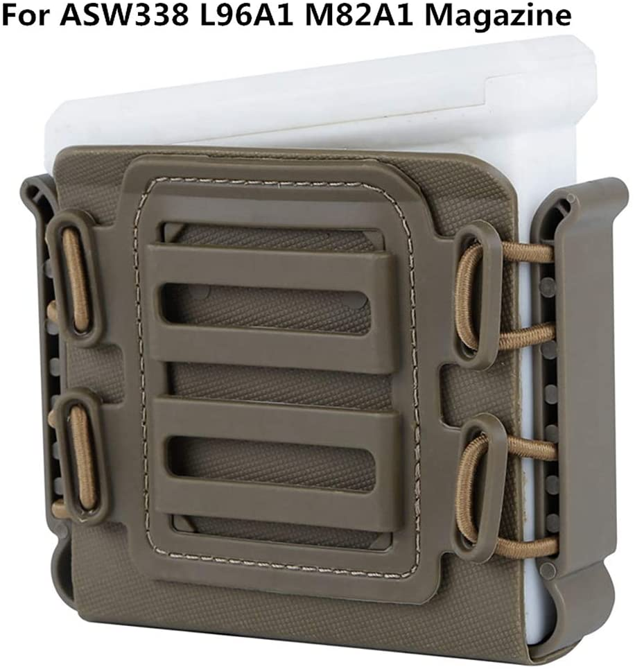 FIRECLUB Tactical Magazine Pouches Soft Shell Mag Carrier Holster with Molle and Belt Clip for ASW338 L96A1 M82A1 Magazine