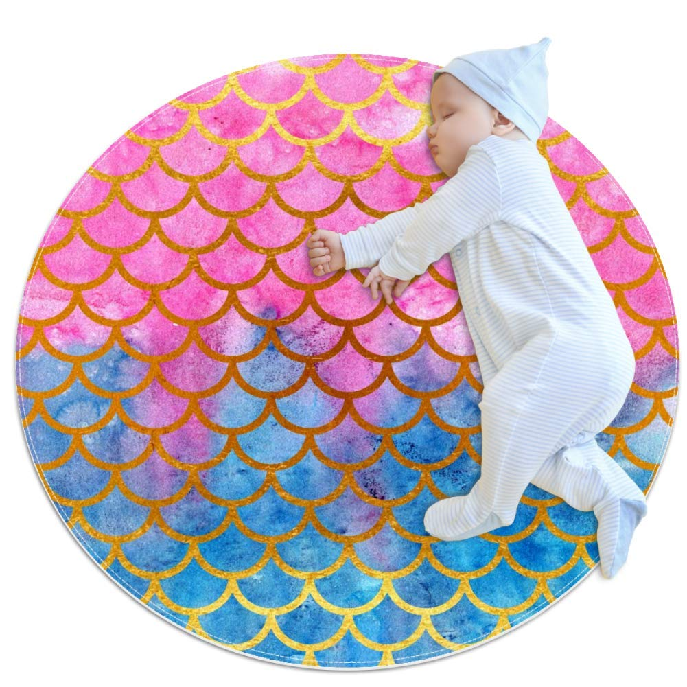 Floor mat Mermaid Scale Pink Blue Nursery Round Rug for Kids Room Soft and Smooth Suede Surface Non-Slip Castle Tent Game mat Best Gift for Your Kids 2feet 7.5inch