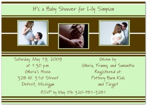 Style in Three Mint & Brown Baby Shower Invitations - Set of 20