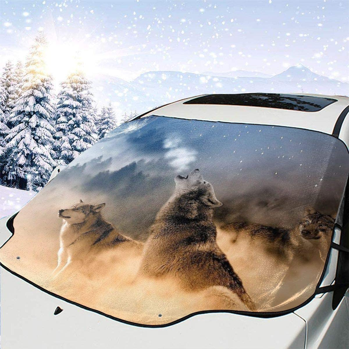 THONFIRE Car Front Window Windshields Winter Sunshade Wolf Song Night Cover Snow Proof Blocks UV Rays Keeps Your Vehicle Cool Visor Protector Auto Spring Heatshield