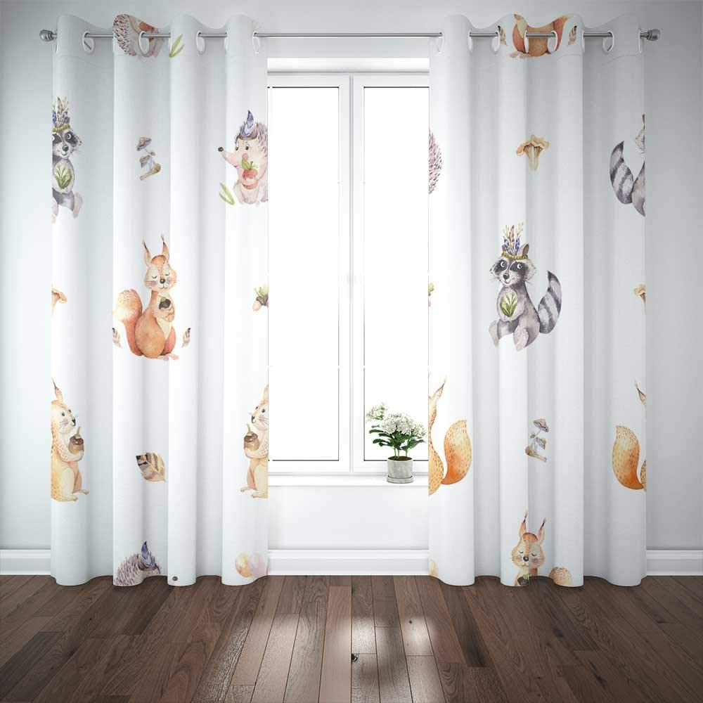 Douecish 2 Panels Curtains 52X84 Inch,Window Curtains for Boys Watercolor Pattern Cute Baby Cartoon Hedgehog Squirrel Moose Animal Nursery Large Window Curtains for Bedroom Living Room
