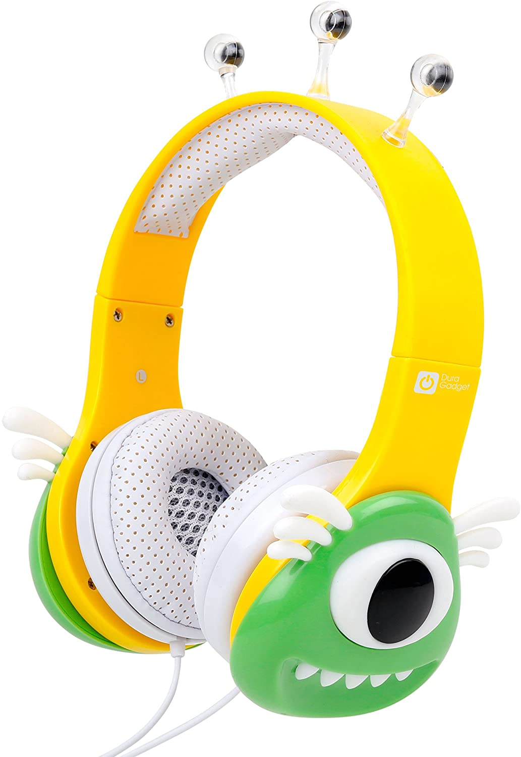 DURAGADGET Colourful Green & Yellow Children's Monster Headphones - Suitable for Use with Wireless Karaoke Microphone Toys