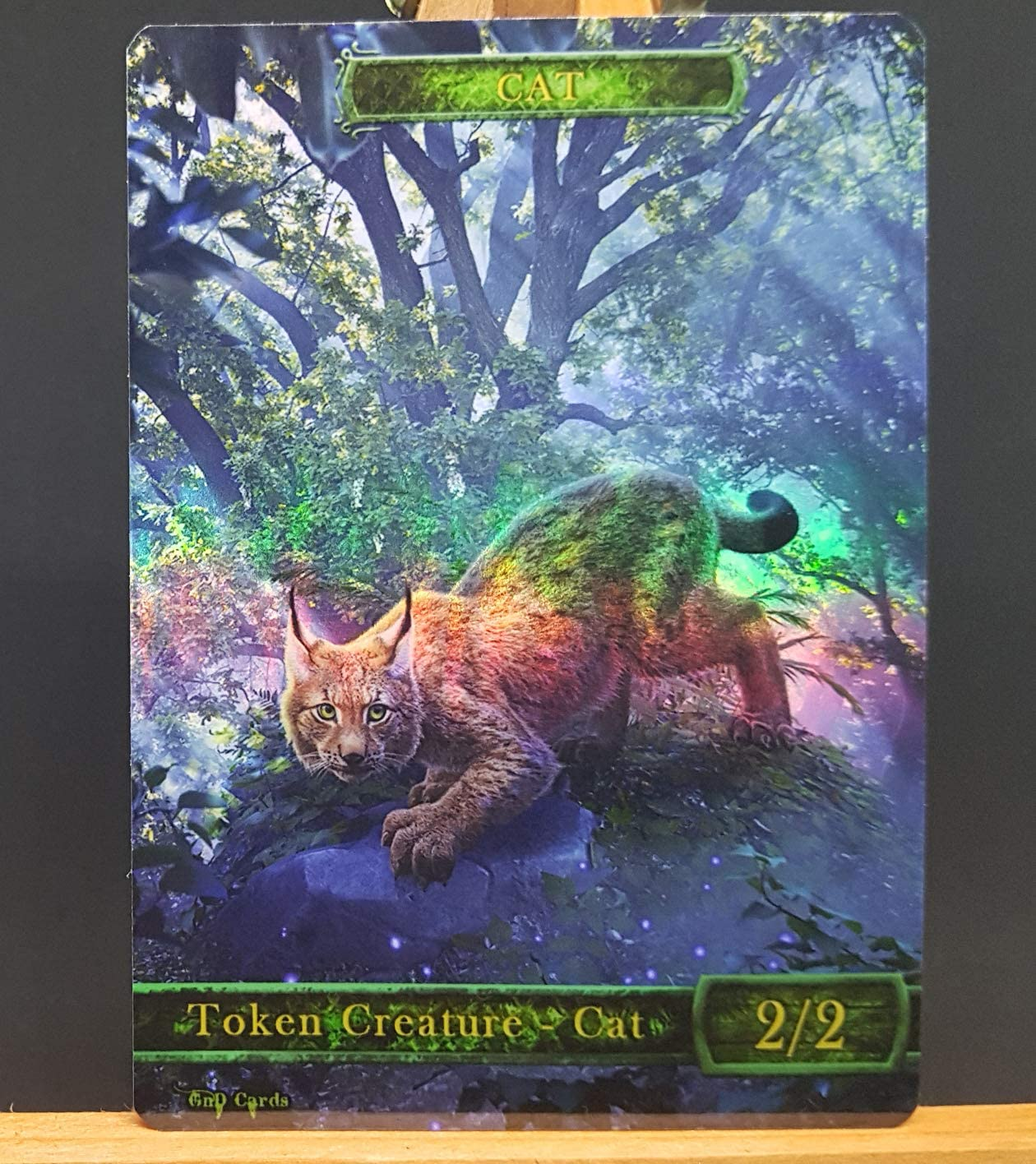 GnD Cards 1x Green Cat #8 FOIL Laminated Custom Altered Token