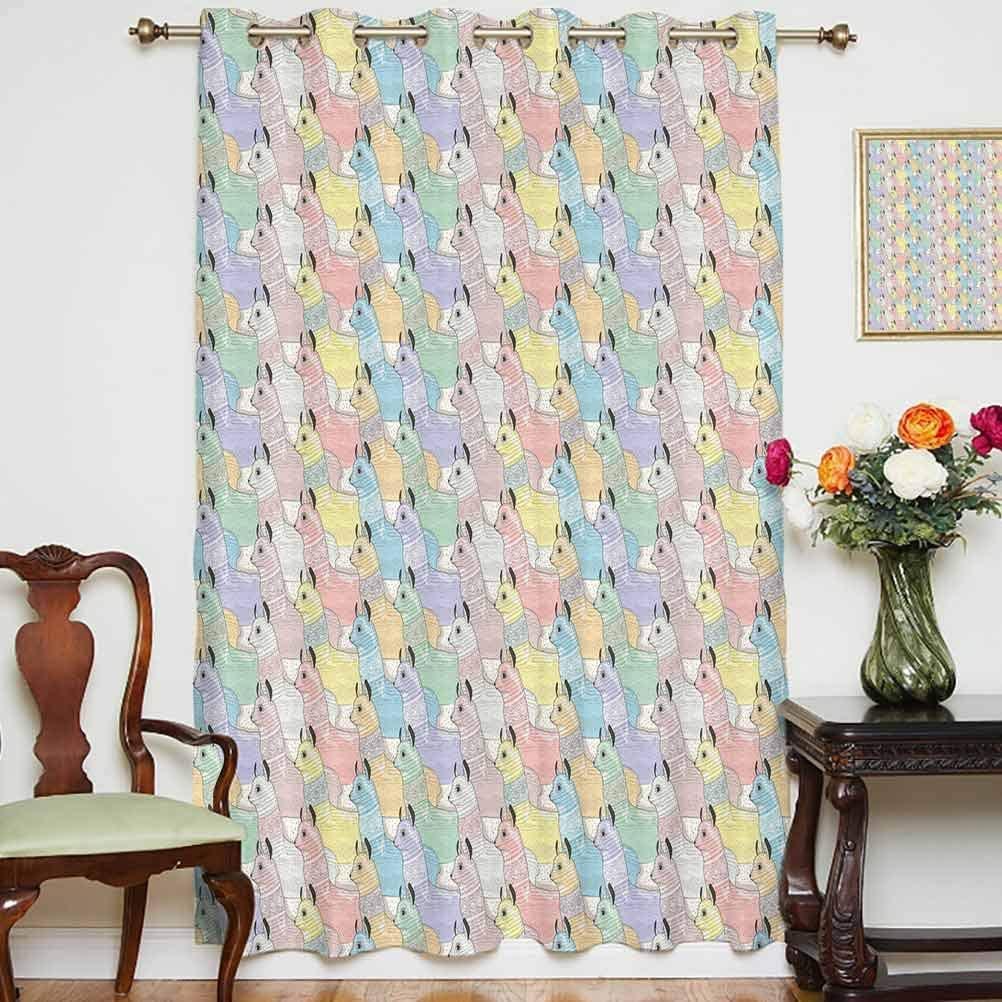 Teen Room Decor Blackout Patio Door Curtains Cute Little Alpacas Pattern Soft Toned Camel Animal Kids Nursery Folk Print Thermal Backing Sliding Glass Door Drape ,Single Panel 52x84 inch,for Kid's Roo