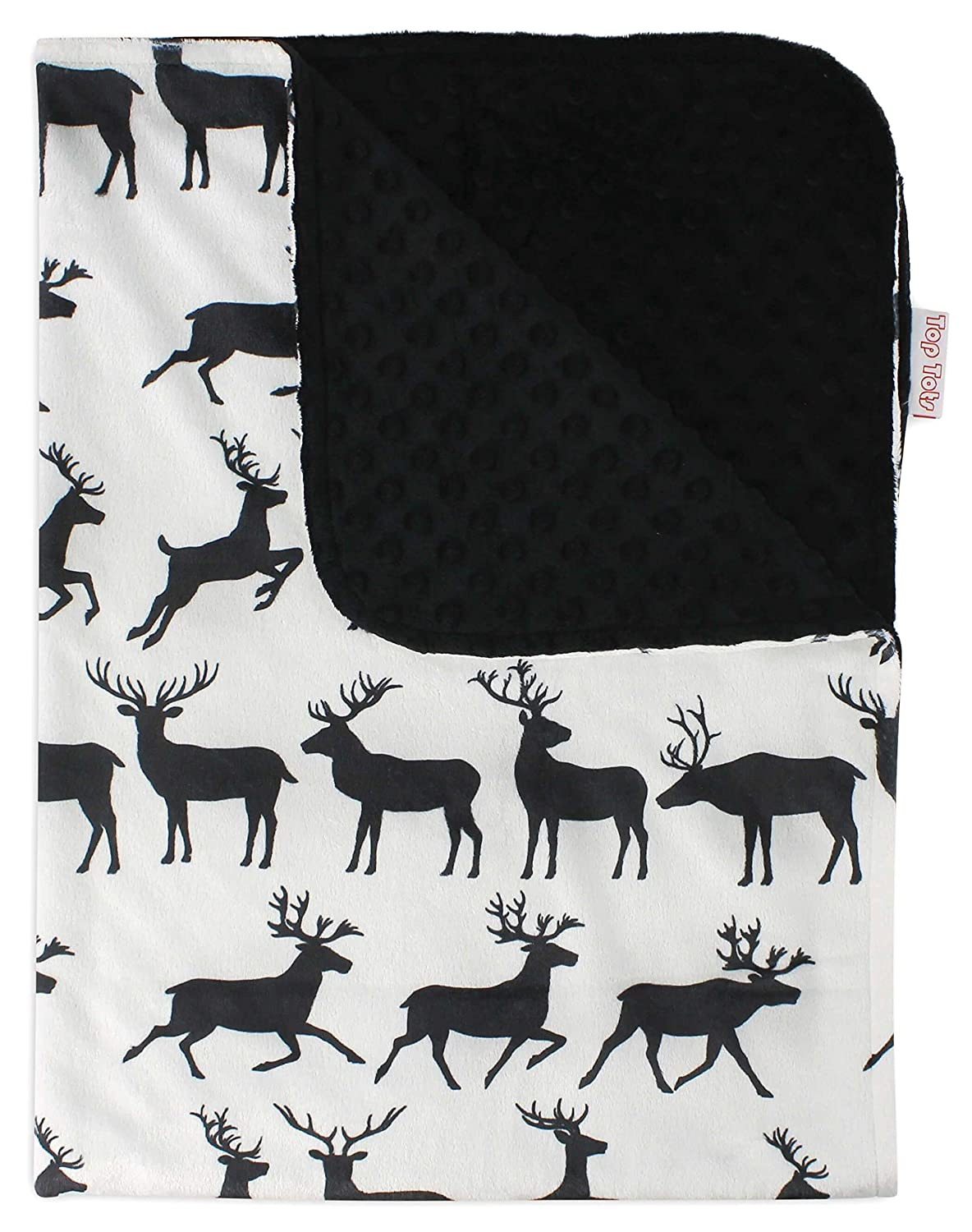Top Tots Includes 1-Year Warranty, Deer Collection, Deluxe Minky Dot Polyester Baby Blanket, Black Horned Deer, 40 by 29 Inch