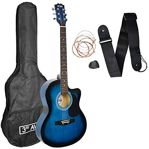 3rd Avenue 4/4 Full Size Cutaway Acoustic Guitar Pack for Beginners in Blue with Bag, Strap, Picks and Spare Strings