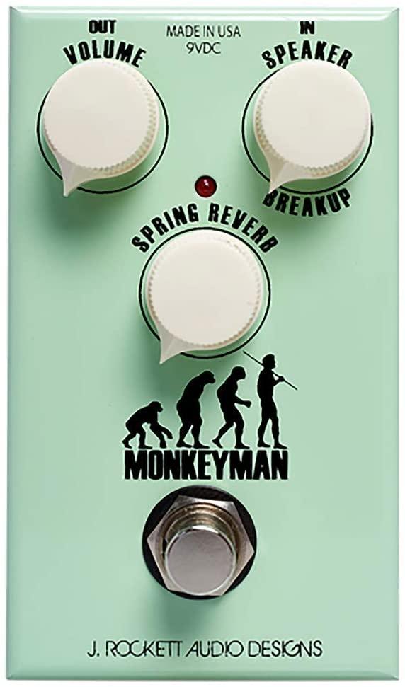 J. Rockett Audio Designs Tour Series Monkeyman Distortion Guitar Effects Pedal with Spring Reverb