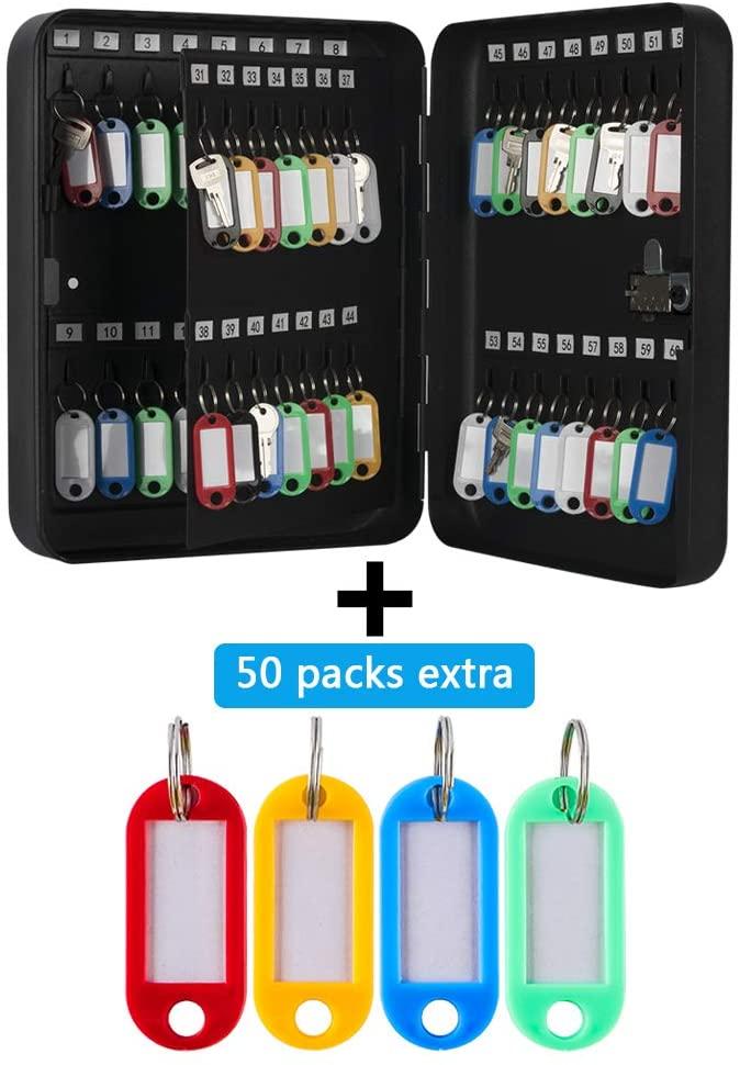 KYODOLED Key Cabinet Wall Mount,Locking Key Organizer,Key Storage Lock Box with Code,Key Management with Combination Lock,60 Key Hooks+50 Pack Extra,11.81