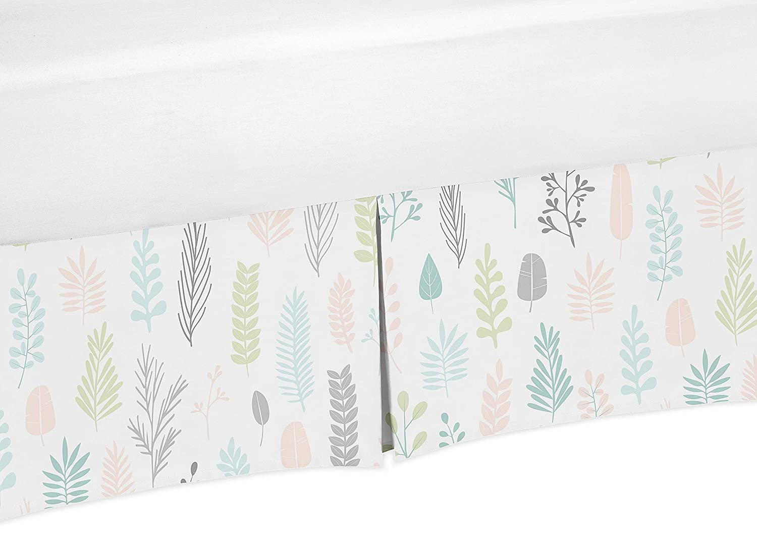 Sweet Jojo Designs Pink and Grey Tropical Leaf Girl Pleated Baby Nursery Crib Bed Skirt Dust Ruffle - Blush, Turquoise, Gray and Green Botanical Rainforest Jungle Sloth Collection