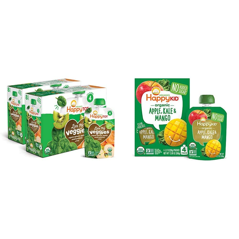 Happy Tot Organic Stage 4 Baby Food Love My Veggies Spinach Apple Sweet Potato & Kiwi, 4.22 Ounce (Pack of 16) & Happy Kid Organic Superfoods Twist Apple Kale Mango, 3.17 Ounce Pouch (Pack of 16)