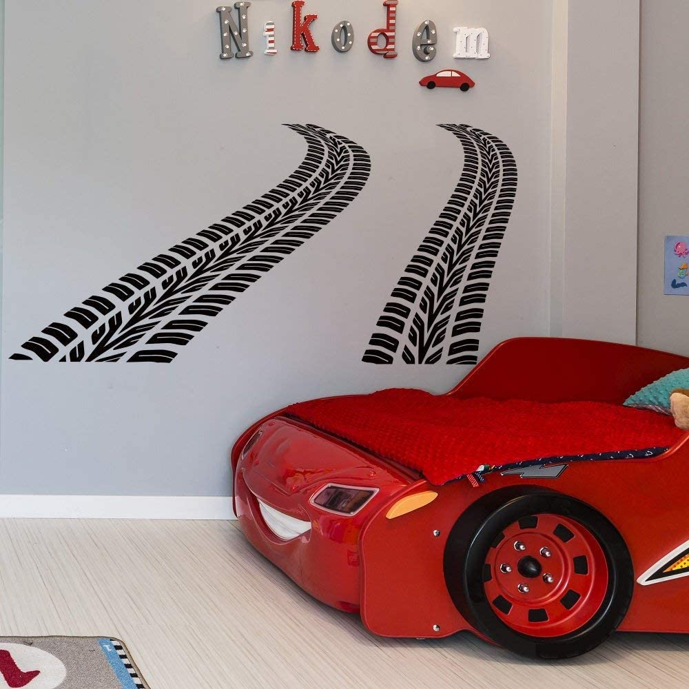 Littledollz Curved Tire Tracks Wall Decal Car Nursery Decor Boys Nursery Wall Decal Kids Room Decor Playroom Wall Decals Road Wall Decal Boys Room 22 Inch