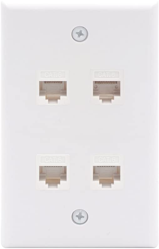 VCE 4 Port Cat6 Female to Female Connector Wall Plate, UL Listed RJ45 Keystone Jack Inline Coupler FacePlates - White