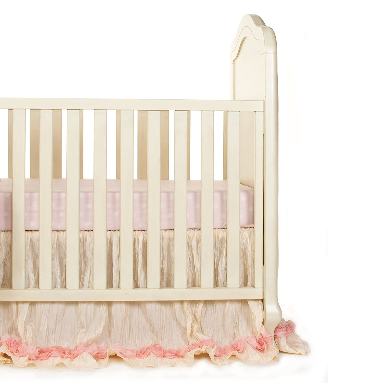 Glenna Jean Victoria Mini Crib2 Piece Bedding Set Includes Dust Ruffle and Fitted Sheet, Pink