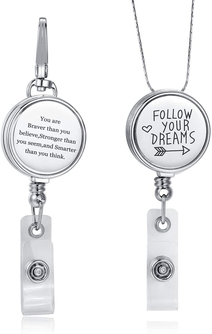 Crimmy Fashion Badge Holder Eyeglass Chain ID Badge Reel Clip (2 Pack) Never Faded Necklace ID Holder, Key Reel Inspirational Charm (You are Braver+Follow Your Dreams)