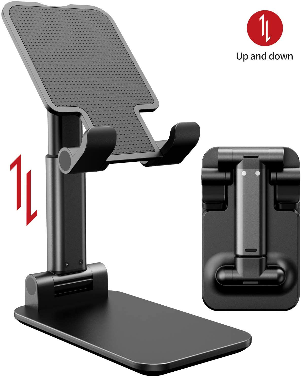 iWALK Adjustable Cell Phone Stand, Foldable Portable Phone Stand Phone Holder for Desk, Desktop Tablet Stand Compatible with Mobile Phone/iPad/Tablet/Kindle