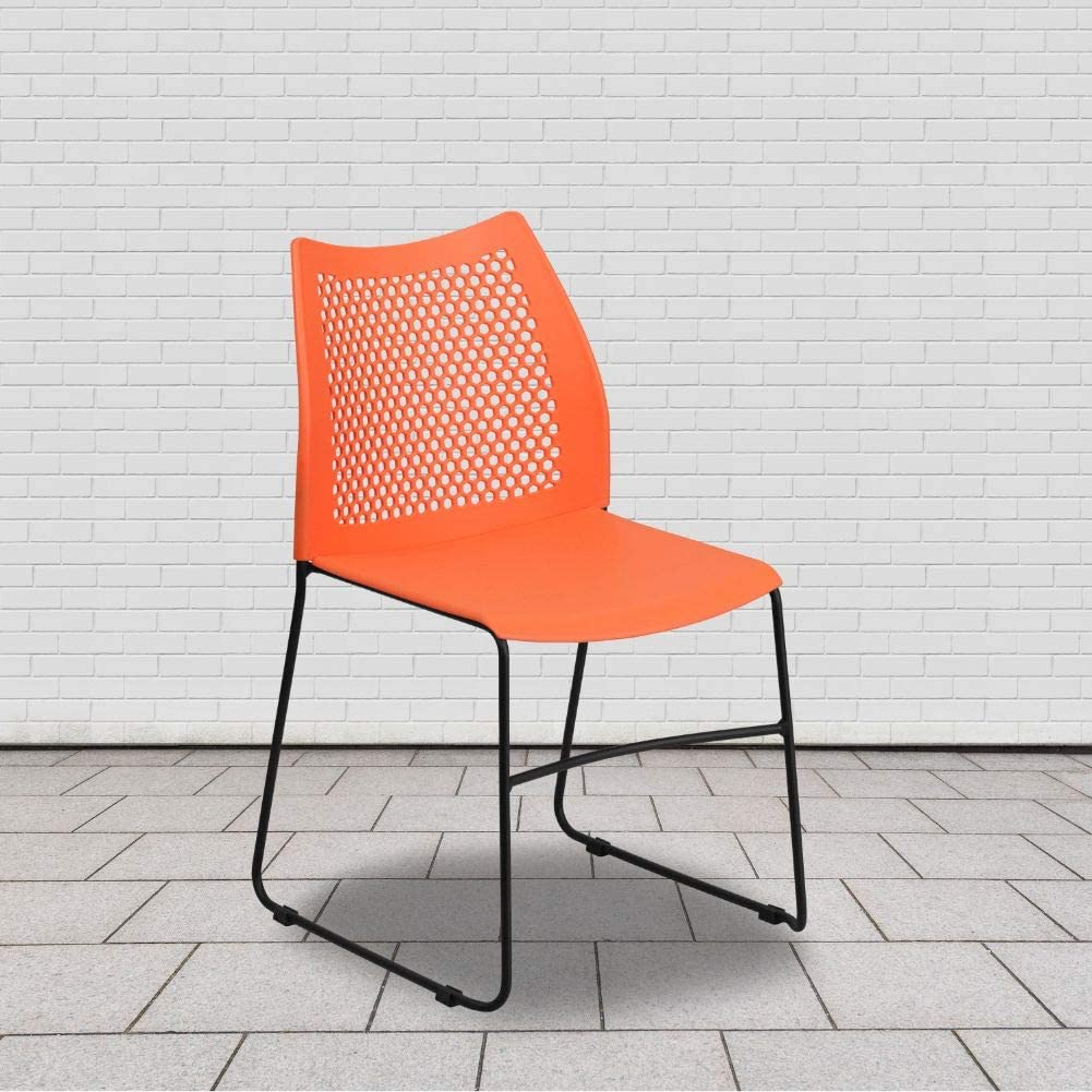 Flash Furniture HERCULES Series 661 lb. Capacity Orange Stack Chair with Air-Vent Back and Black Powder Coated Sled Base