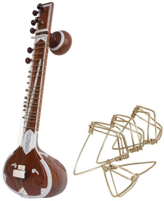 Toomba Sitar Package Includes: Authentic Small Half Size Double Toomba Sitar W/Strings, Book Or Cd + Mizrabs Picks Sitar Large, Pack Of 4