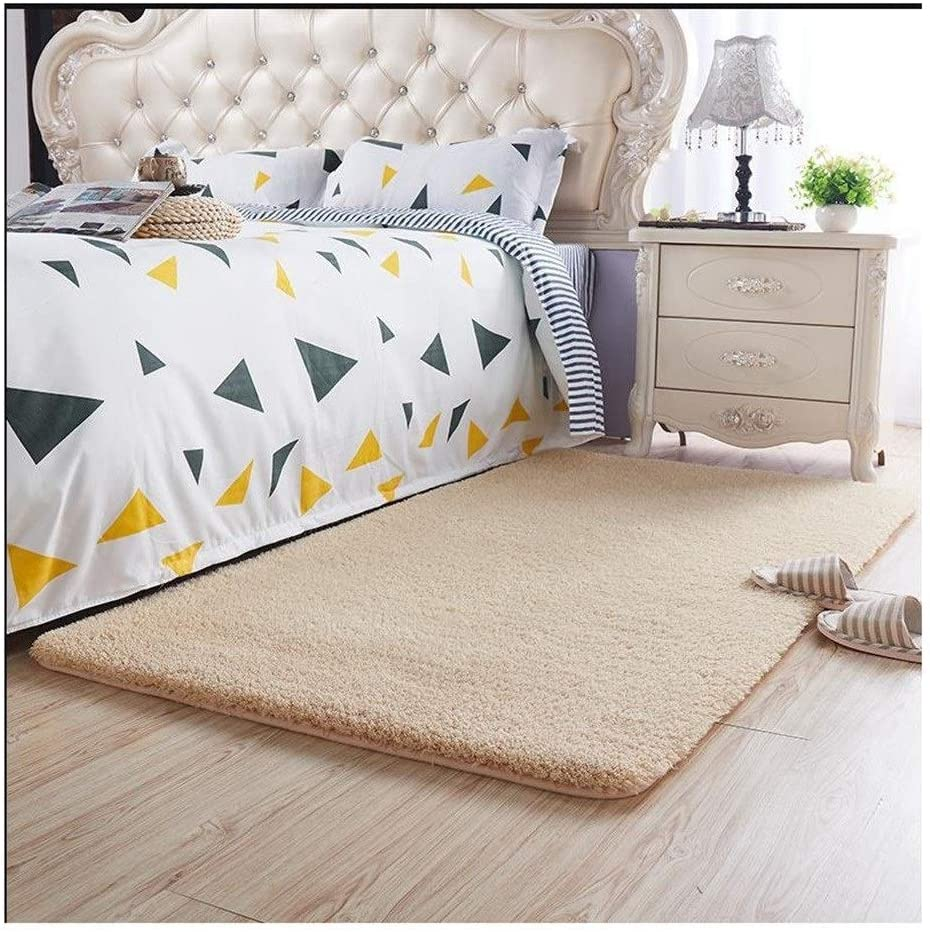 ZJX-F Bedroom Bedside Rug Artificial Cashmere Soft Skin-Friendly Comfortable Living Room Area Rugs Tea Table Blanket Child's Room Carpet (Color : Beige, Size : 200x120 cm)