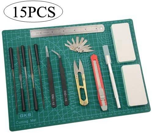 BXQINLENX Professional 15 PCS Gundam Model Tools Kit Modeler Basic Tools Craft Set Hobby Building Tools Kit for Gundam Car Model Building Repairing and Fixing(F)