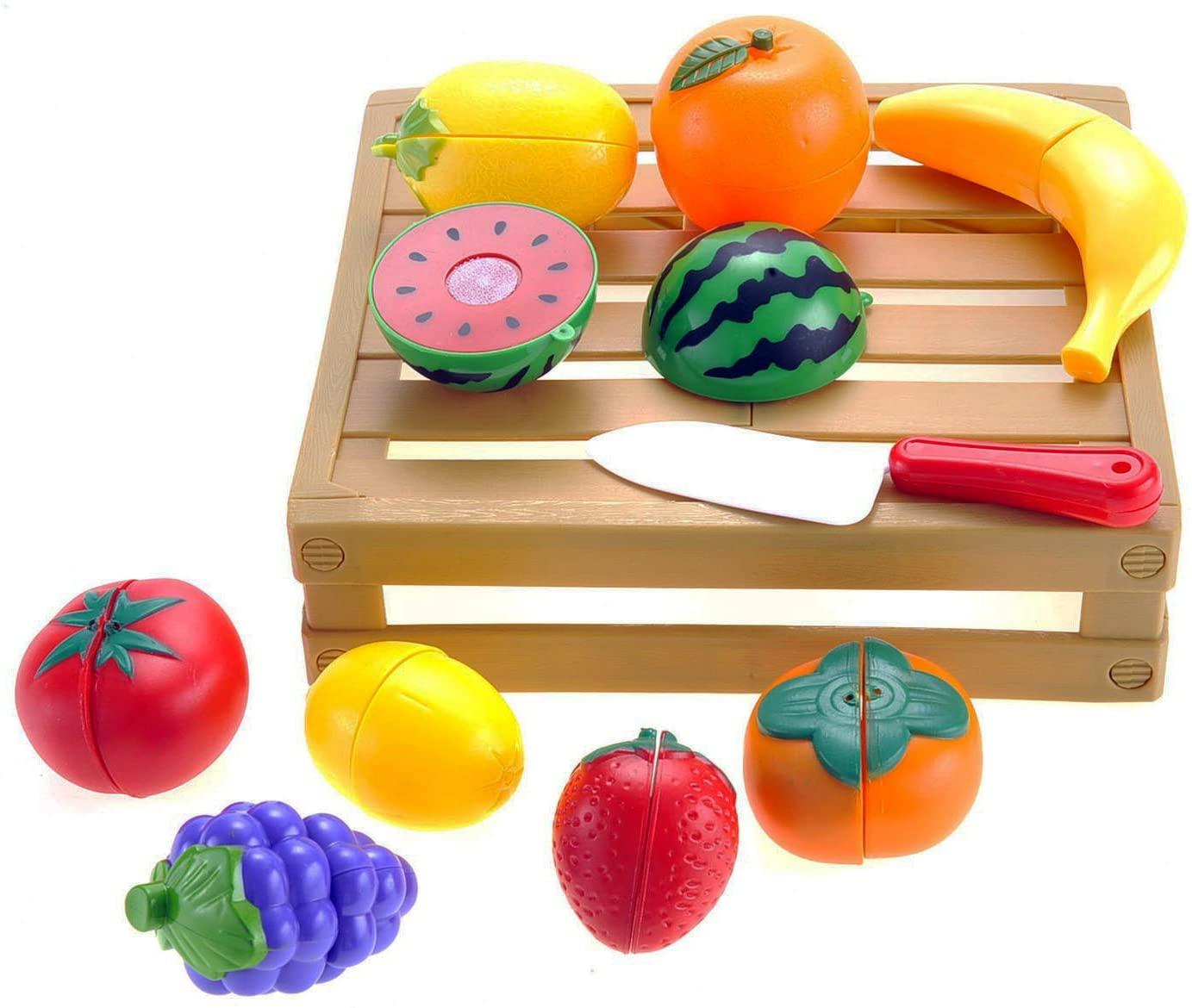 Liberty Imports 20 Pcs Kitchen Cutting Fruits Crate Pretend Food Playset