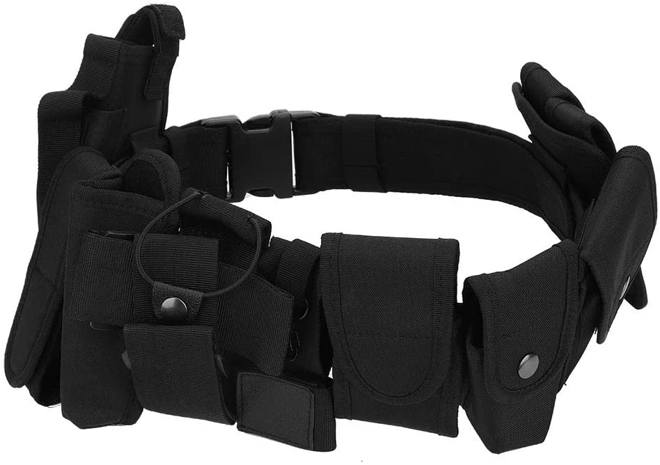 Vbestlife Modular Tactical Belt Duty Belt for Police Security Law Enforcement 600D Nylon Modular Equipment System Belt Security Military Utility Tactical Belt Strap with Detachable Pouches