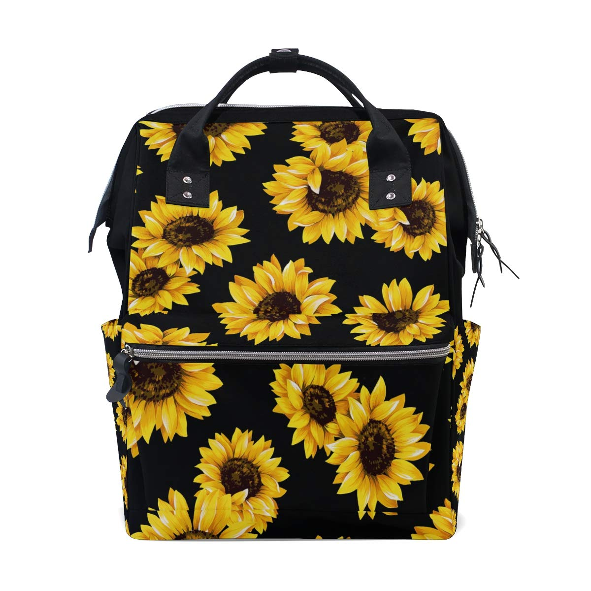 AUUXVA Diaper Backpack Flower Sunflower Pattern Multi-Function Large Capacity Baby Changing Bags Zipper Casual Stylish Travel Backpacks for Mom Dad Baby Care