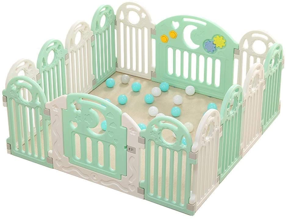 HWZQHJY Baby Playpen Adjustable Kids Safety Activity Center Play Yard Home Indoor Outdoor Pen with Double Security Lock Gate,Non-Toxic, Easy to Assemble (Size : 14 Pieces)