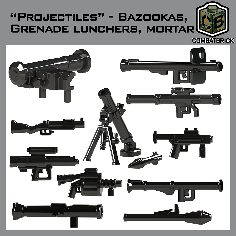 CombatBrick Bazookas, Grenade launchers, Mortar Accessories lot. Projectiles 16 Parts Set in Black. Custom Brick Builder Accessories