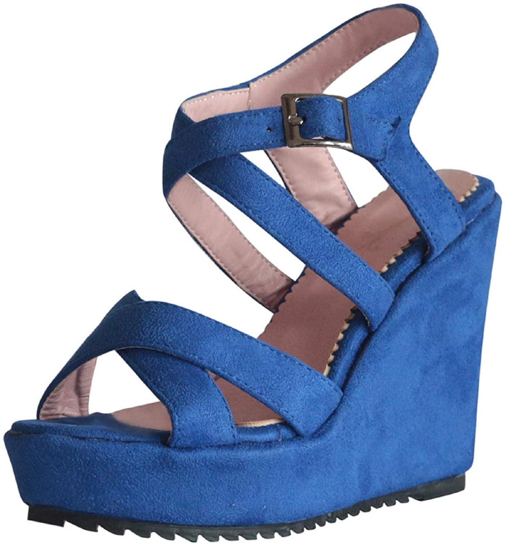 Womens Open Toe Roman Sandals,Womens Espadrilles Ladies Wedges Platform Buckle Ankle Strap Open Toe Casual Sandals