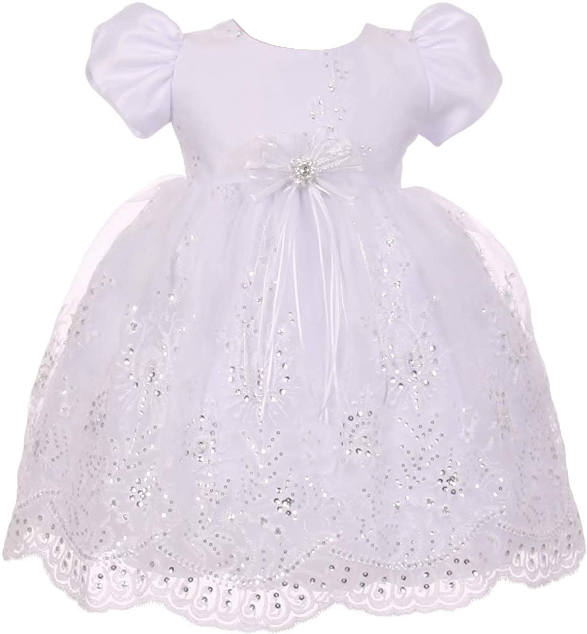 BluNight Collection Sheer Organza Cape Headband Baptism Infant Little Baby Girl Dresses