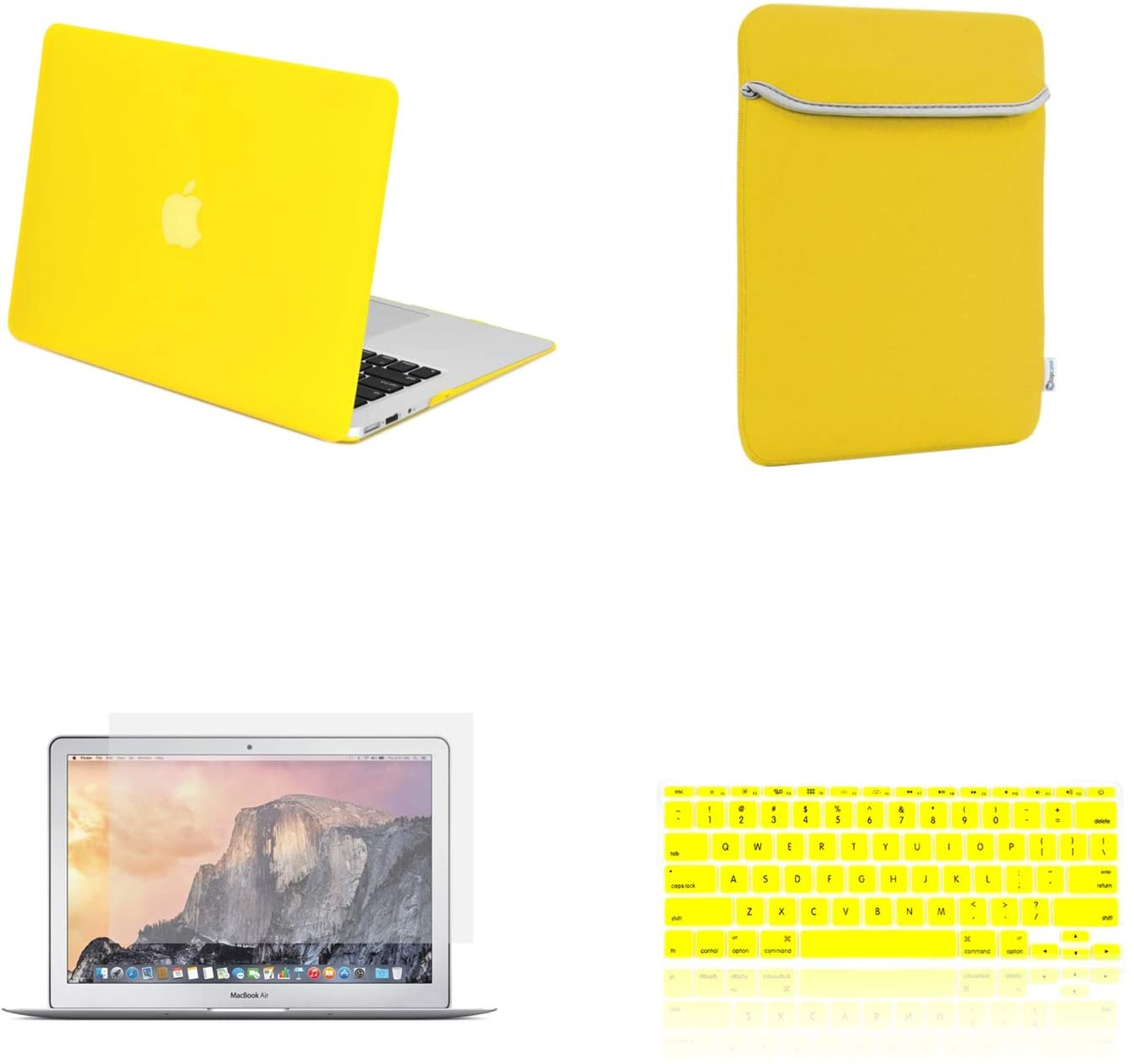 TOP CASE - 4 in 1 Essential Bundle Rubberized Hard Case + Sleeve Bag + Transparent TPU Keyboard Cover + Screen Protector Compatible MacBook Air 11