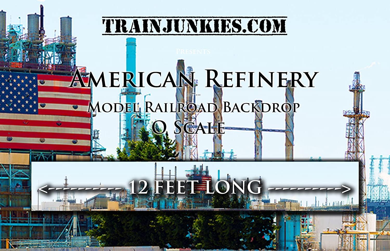 Train Junkies American Refinery- Railroad Backdrop O Scale