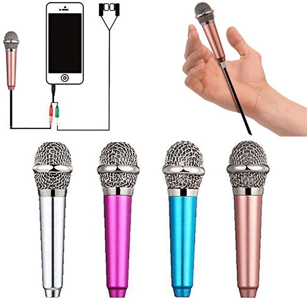 Mini Microphone,Singing Mic Equipment,Beautiful Vocal Quality,Mini Type Space Saving,Metal Frothing Process,3.5mm Audio Connector,Suitable for Laptop, iPhone, Android Phone