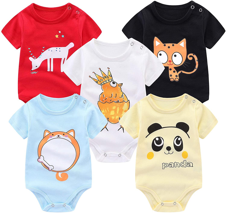 FLORNO Unisex Baby Bodysuits 5-Pack Baby Short Sleeve Bodysuits Onesies Bodysuit Short-Sleeve Bodysuits%100 Organic Cotton