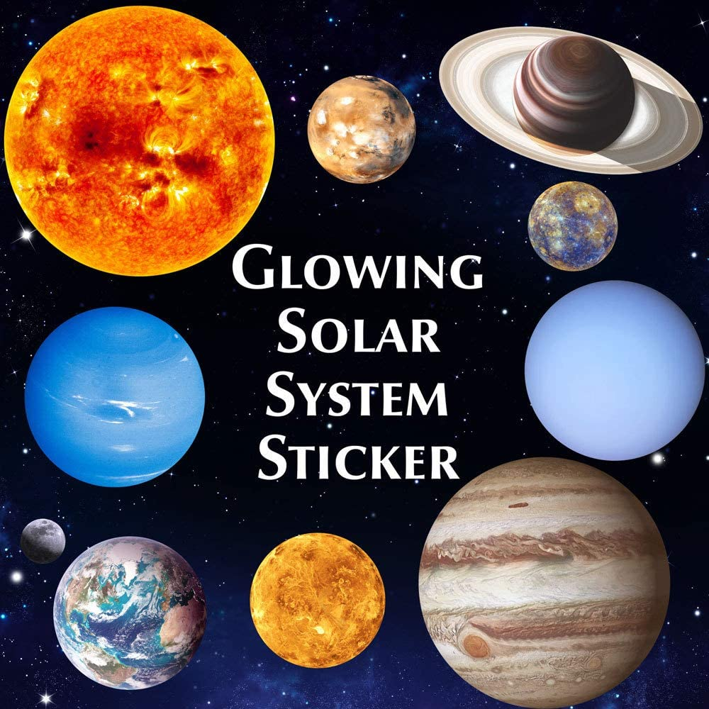 ONDY Bright Solar System Wall Stickers Glow in The Dark Sun with 9 Planets Glowing Ceiling Decals Shining Space Decoration for Living Room Bedroom Kids Girls and Boys (Solar System)
