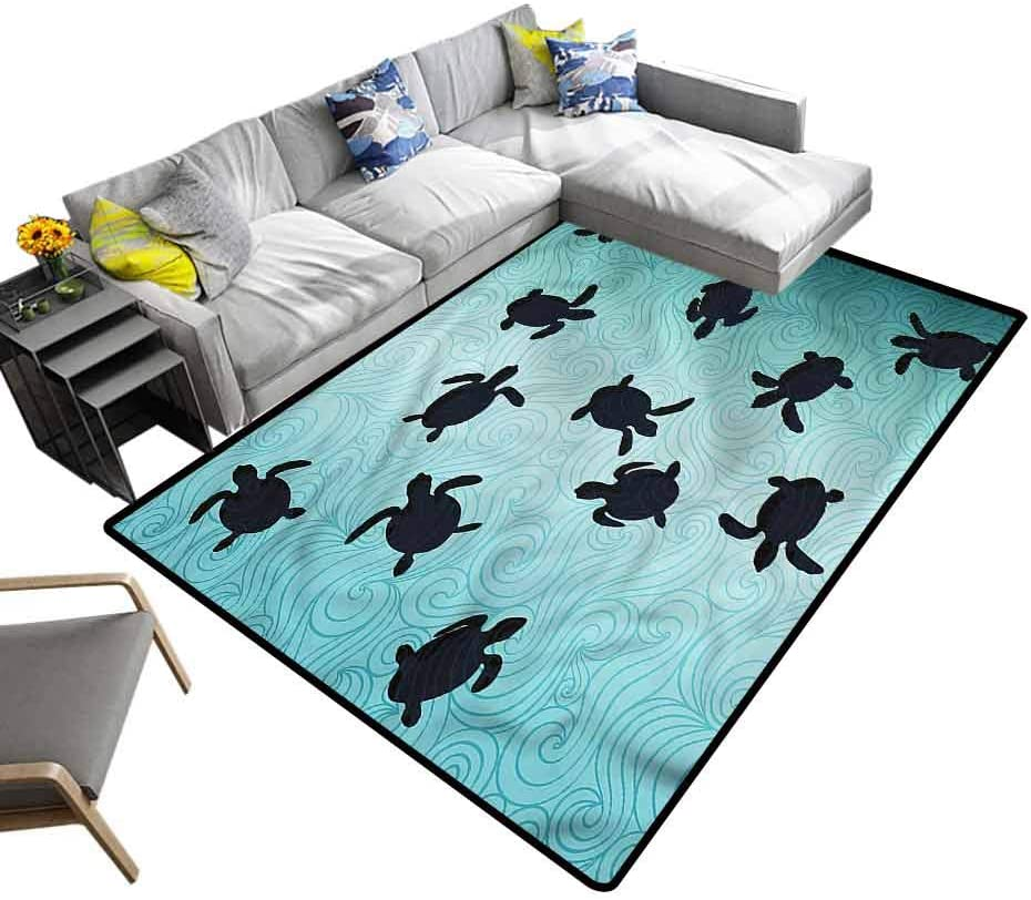 Marine, Nursery Rugs Baby Turtles Deep Sealife Kids Carpet Playmat Rug for Kids Nursery, 7'x 7'