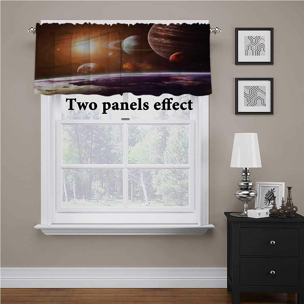 shirlyhome Galaxy Window Valences Curtains Space View Solar System for Kids Room/Baby Nursery/Dormitory, 42 Inch by 18 Inch 1 Panel