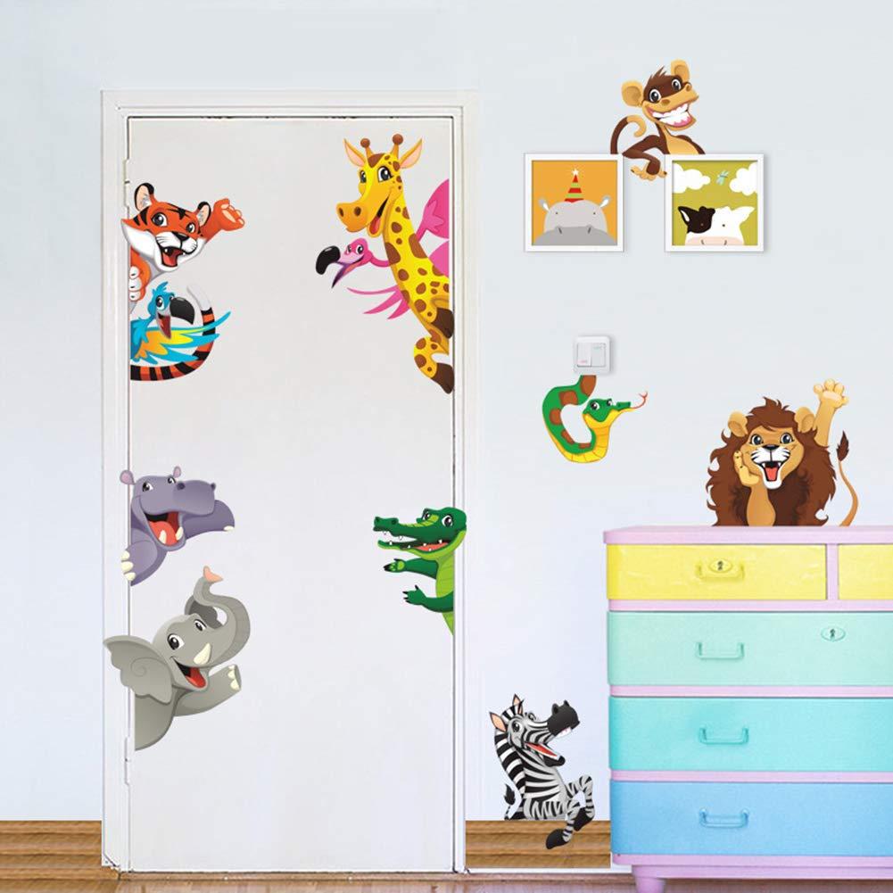 Poorminer Jungle Animals Wall Stickers, Colorful Cartoon Giraffe, Lion & Tiger Wall Decals,Removable DIY Art Posters Mural for Living Room Kids Baby Room Door Nursery Playroom Wardrobe Door Decoration