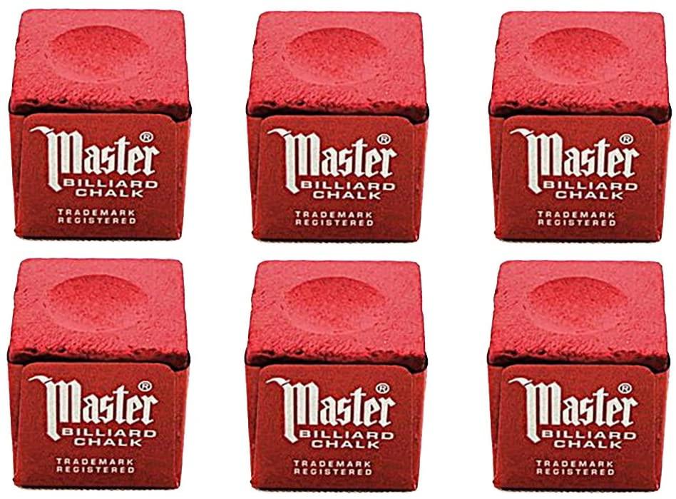 Master Set of 6 Red Billiard Pool Cue Chalk