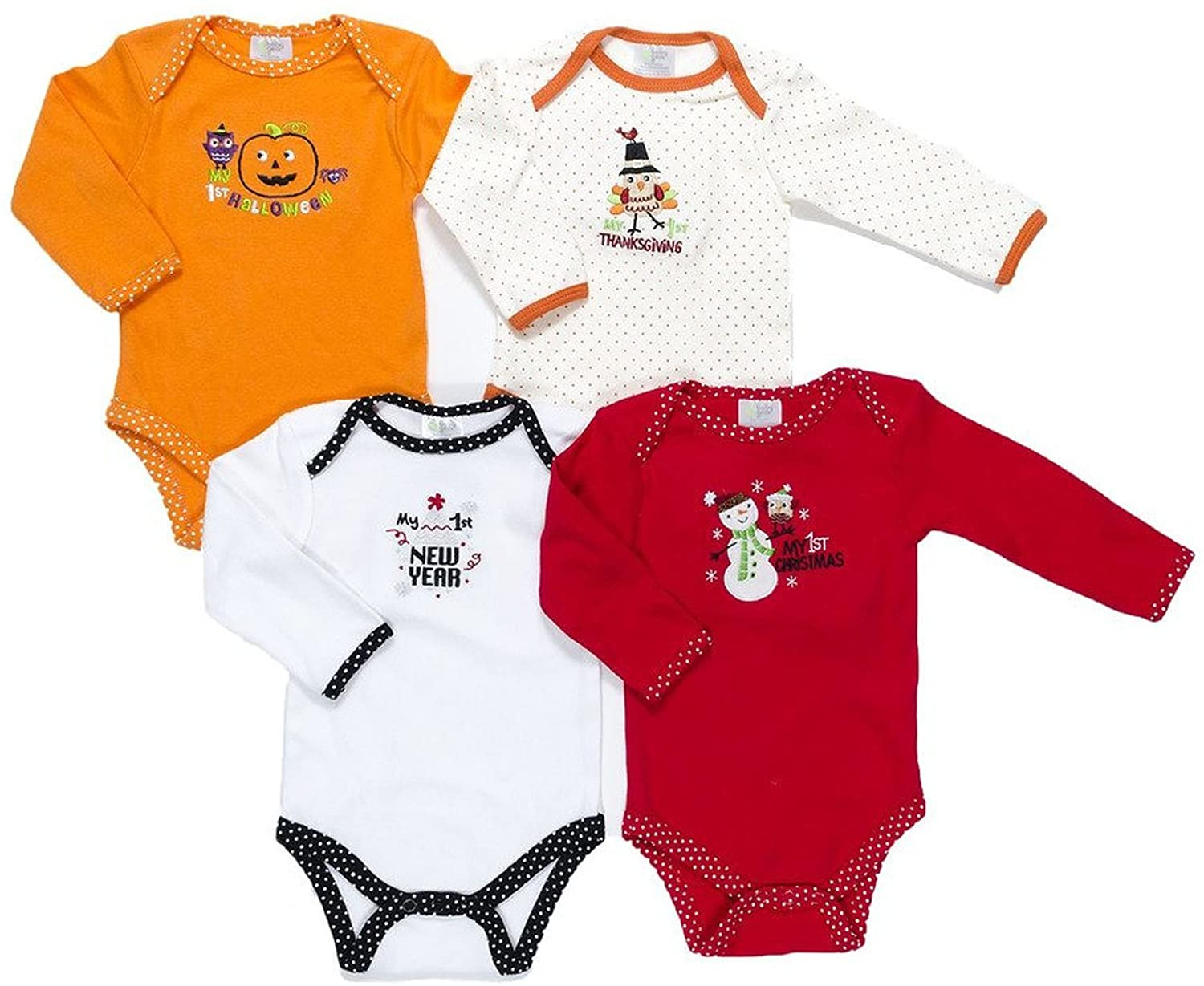 Baby Gear Unisex My 1st Holidays Grow With Me 4-Pack Bodysuit Set