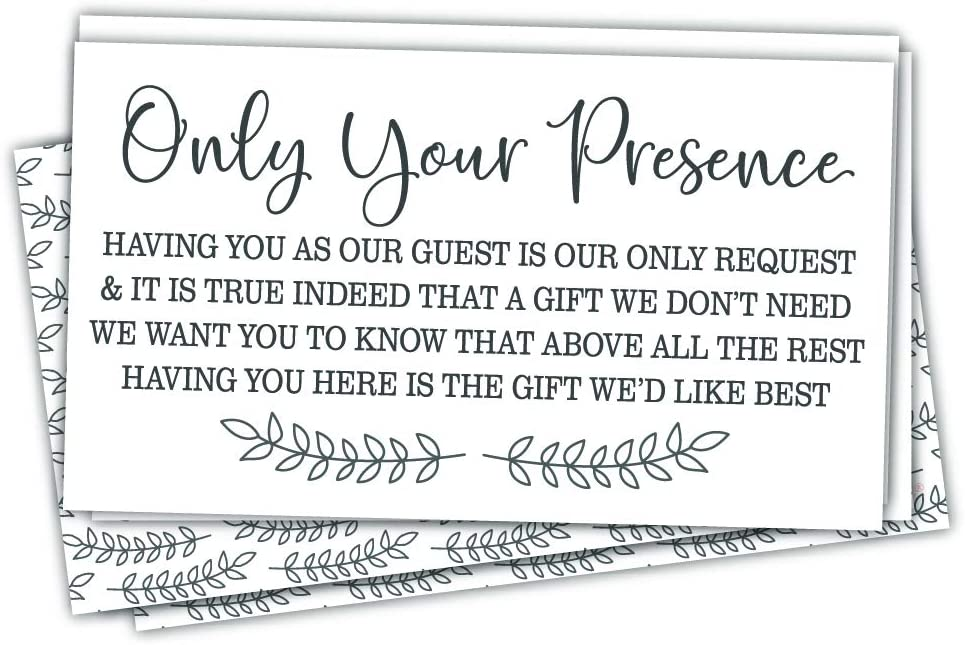 50 No Gifts Request Invitation Insert Cards - Baby Shower, Bridal Shower or Any Special Event