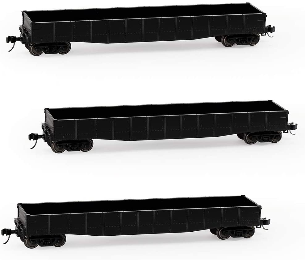 Evemodel C15014BL 3pcs N Scale 53ft Low-Side Gondola Car 1:160 Black Railway Open Wagons Rolling Stock Container Carriage Freight Car